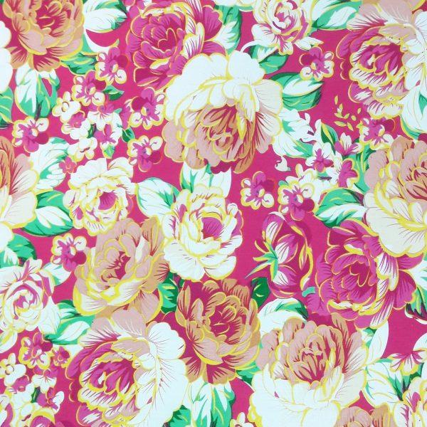 Bright floral cotton poplin