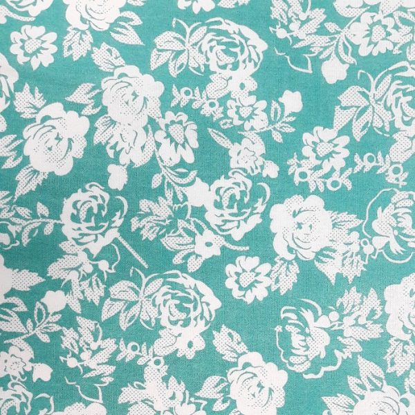 Turquoise Floral Cotton Poplin