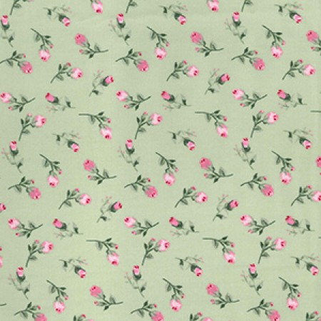 Sage Green Rose Cotton Fabric