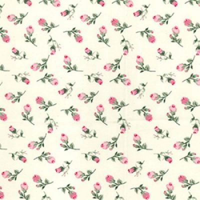 Ivory Rose Buds Cotton Fabric