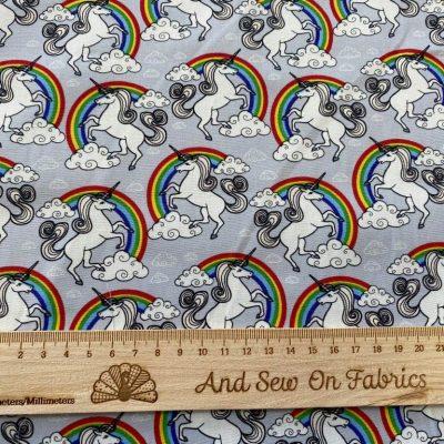 Unicorn Rainbows Cotton Poplin