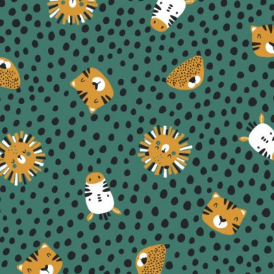 Animal Spots Cotton Jersey Teal