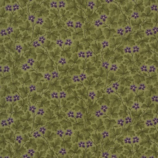 Mill Creek Garden Fabric - Green Leaves and Flowers 2246-13