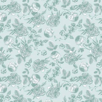 Riley Blake Designs - Gingham Gardens - Lined Floral Aqua