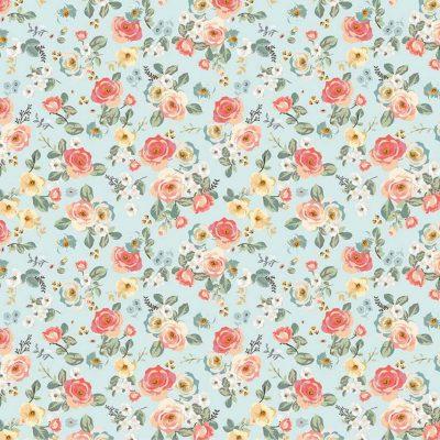 Riley Blake Designs - Gingham Gardens - Floral Aqua