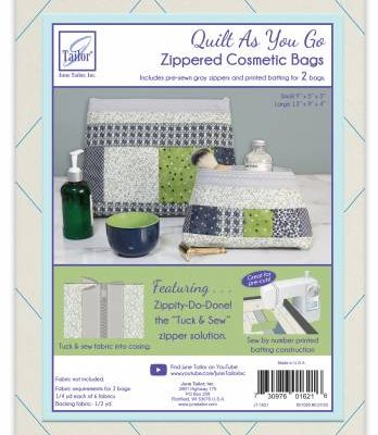 June Tailor - Quilt As You Go Cosmetic Bags 2/Pkg - Grey Zip