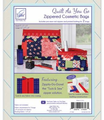 June Tailor - Quilt As You Go Cosmetic Bags 2/Pkg - Red Zip