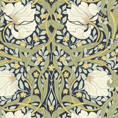 V&A William Morris Fabric - Pimpernel Blue Nights 2681-01