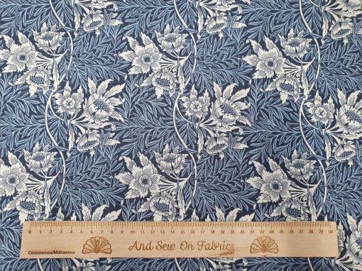 V&A William Morris Fabric - Tulip & Willow Blue Nights 2681-03