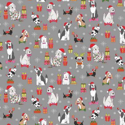 Makower - Yappy Dog - 2365 Dog Scatter Silver