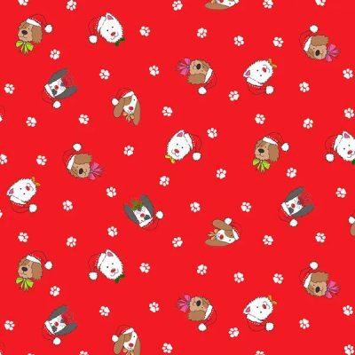 Makower - Yappy Dog - 2366 Dogs Heads Red