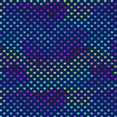 Makower - Hearts Rainbow Blue 9793B