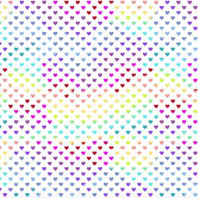 Makower - Hearts Rainbow White 9793L