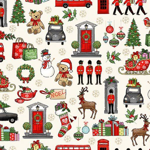 Makower - London Christmas- 2370 London Icons Cream