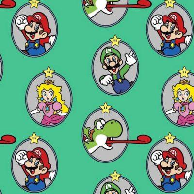 Super Mario - Super Mario Badge Cotton Fabric 20331