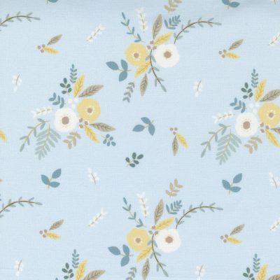 Moda - Little Ducklings by Paper + Cloth - Floral Bouquet Blue 25101 15