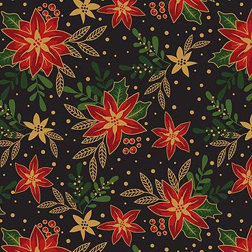 Craft Cotton Co - Traditional Poinsettia Metallic Poinsettia Black 2806-01