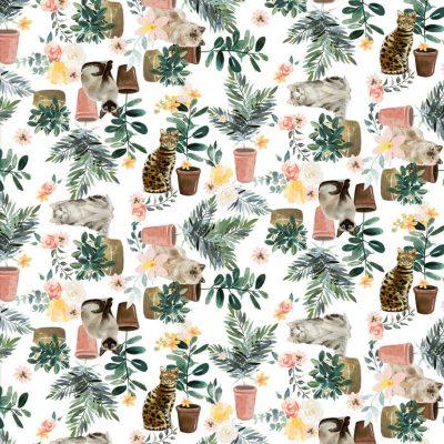 3 Wishes Fabrics - Everyday is Caturday White 180370-WHT