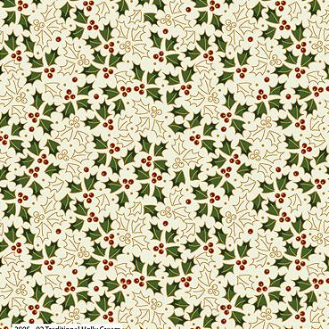 Craft Cotton Co - Traditional Christmas Metallic Holly Cream 2805-02