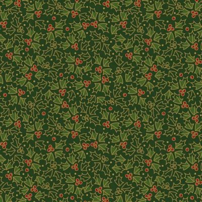 Craft Cotton Co - Traditional Christmas Metallic Holly Green 2805-05