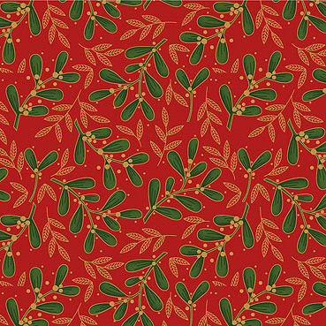 Craft Cotton Co - Traditional Christmas Poinsettia Mistletoe Red 8973-13