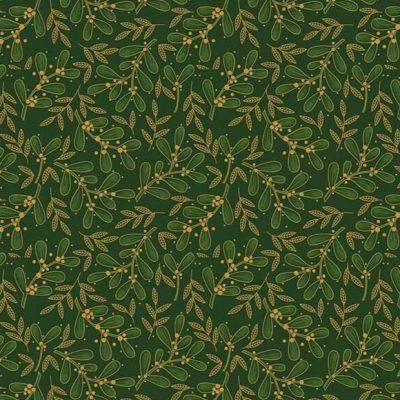 Craft Cotton Co - Traditional Christmas Poinsettia Mistletoe Green 2806-03
