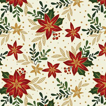 Craft Cotton Co - Traditional Poinsettia Metallic Poinsettia Cream 2806-05
