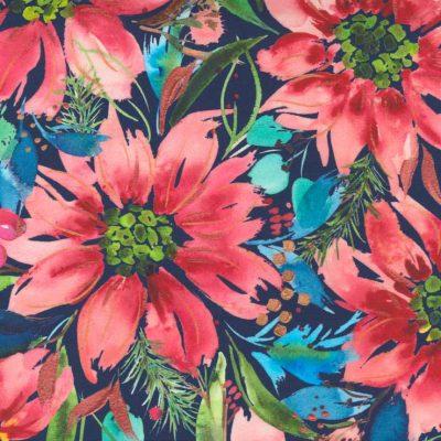 Moda Fabrics - Starflower Christmas Navy 8480 14