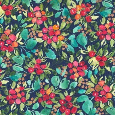 Moda Fabrics - Starflower Christmas Navy 8481 13