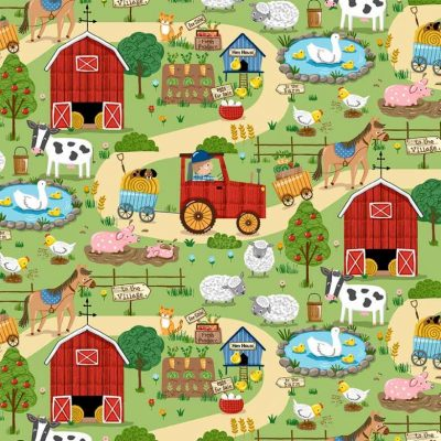 Michael Miller Fabrics - Down On The Farm Around The Farm CX9329-GREE-D