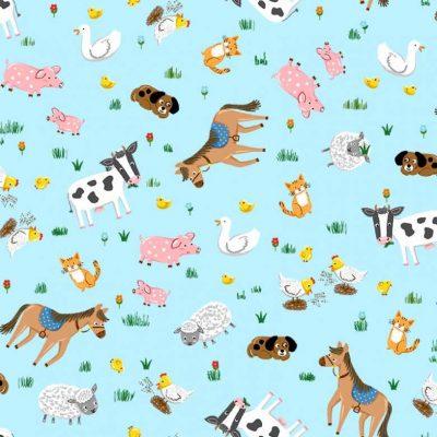 Michael Miller Fabrics - Down On The Farm Barnyard Animals CX9330-BLUE-D