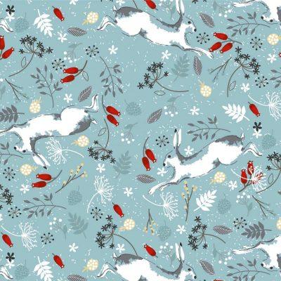 Craft Cotton Co - Christmas Hare & Robin - Christmas Hare Duck Egg 2797-01