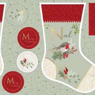 Craft Cotton Co – Christmas Hare & Robin Stocking Panel 2797-06