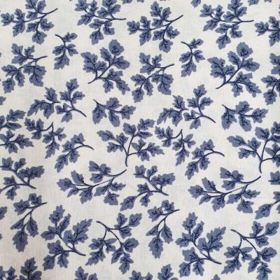 Sew Cool White With Blue Floral Cotton 9709-1